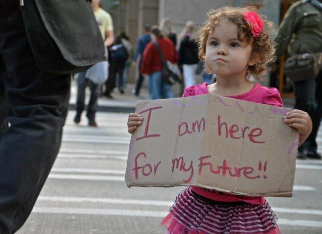 futuro criança indignados luta
