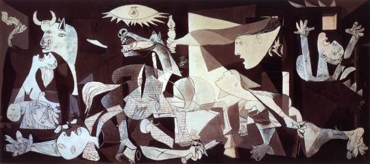 Guernica, Picasso. Os sofrimentos provocados pela guerra. O célebre quadro retrata o bombardeio da Cidade de Guernica, Espanha, pelas tropas de Hitler, a pedido de Franco