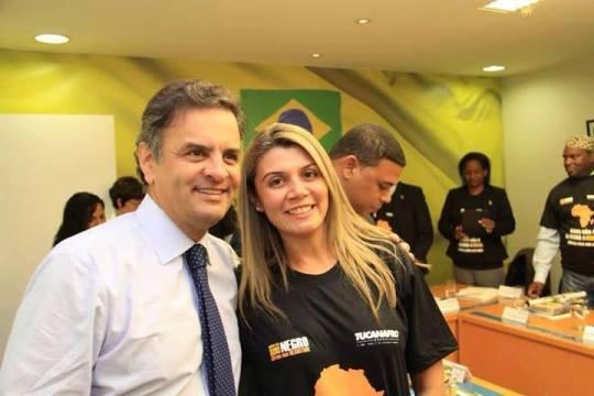 Aécio neves e a presidente do movimento negro do PSBD Roraima