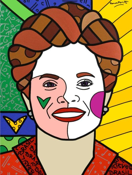 """En coincidencia con las elecciones de este domingo, apareció este libro definido como """"un retrato apasionado"""" del milagro brasileño, que combina avances económicos con conquistas sociales. Incluye una comparación con la Argentina en tono tanguero. Dilma Rousseff por Romero Britto"""