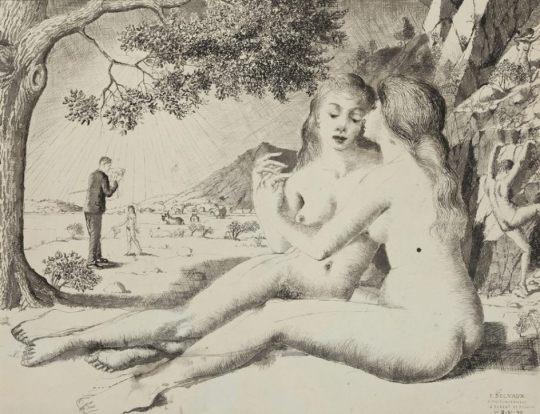 4/9'LAS AMIGAS', 1940Su relación con las mujeres fue difícil y las muchachas enigmáticas y hermosas que representa juegan el rol de amor platónico. La exposición contiene obras (sobre todo dibujos) en las que hay implícitas o se manifiestan con claridad relaciones lésbicas, algo que algunos expertos relacionan con la decepción del artista con las relaciones heterosexuales (Paul Delvaux - © Musée d'Ixelles, Bruselas - Foto: Vincent Everarts, Bruselas - © Paul Delvaux, VEGAP, Madrid, 2015) Ver más en: http://www.20minutos.es/fotos/artes/paul-delvaux-en-el-thyssen-11206/?imagen=7#xtor=AD-15&xts=467263