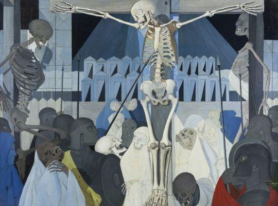 'CRUCIFIXIÓN', 1954Fascinado por la expresividad y la ironía de los huesos, Delvaux realiza versiones de la Pasión de Cristo con esqueletos. Expuesta en 1954 en la Bienal de Venecia, la serie provocó un escándalo sin que el autor lo pretendiera, el cardenal Roncalli (después el Papa Juan XXIII) condenó las obras por herejía (Paul Delvaux - © Musée d'Ixelles, Bruselas - Foto: Vincent Everarts, Bruselas - © Paul Delvaux, VEGAP, Madrid, 2015) Ver más en: http://www.20minutos.es/fotos/artes/paul-delvaux-en-el-thyssen-11206/?imagen=7#xtor=AD-15&xts=467263