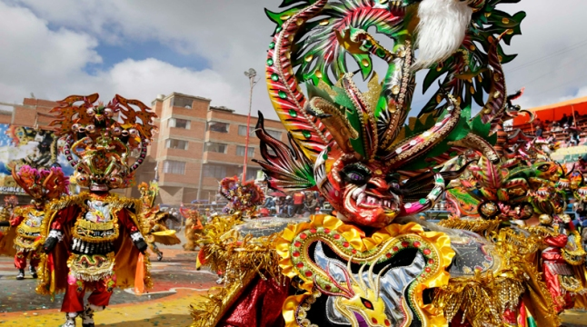 "Members of the ""Diablada"" group perform during the Carnival parade in Oruro"