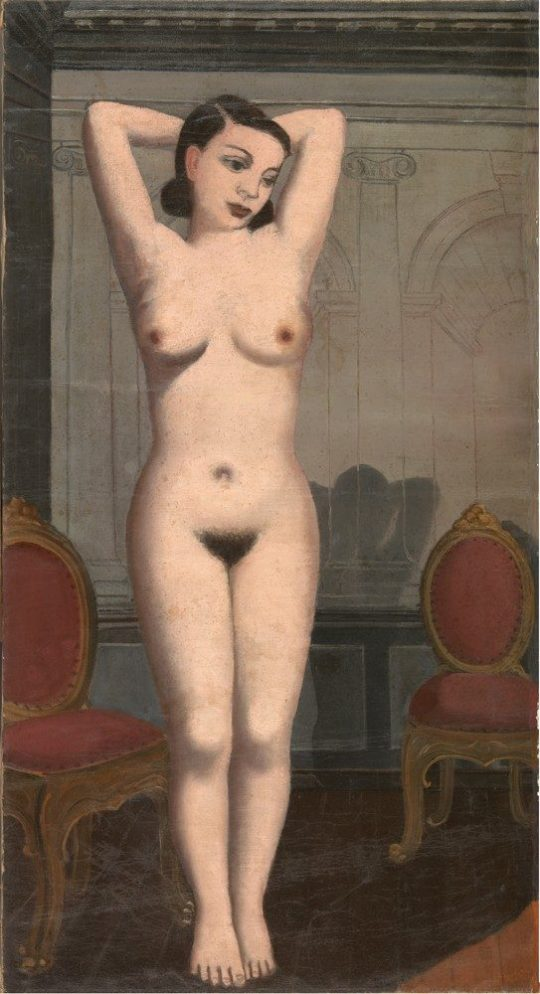 '¿EL INCENDIO?', 1935?La segunda parte de '¿El incendio?' (1935). Recientemente se pudo confirmar que el lienzo (hasta hace poco perdido) es la mitad izquierda de otro que el artista cortó antes de exponer ese mismo año. Las dos partes de expusieron juntas por primera vez el año pasado en el Musée d'Ixelles y ahora se pueden ver en la muestra del Museo Thyssen de Madrid (Paul Delvaux - © Musées royaux des Beaux-Arts de Belgique, Bruselas - Foto: J. Geleyns/Ro scan - © Paul Delvaux, VEGAP, Madrid, 2015) ▲2  Ver más en: http://www.20minutos.es/fotos/artes/paul-delvaux-en-el-thyssen-11206/?imagen=7#xtor=AD-15&xts=467263