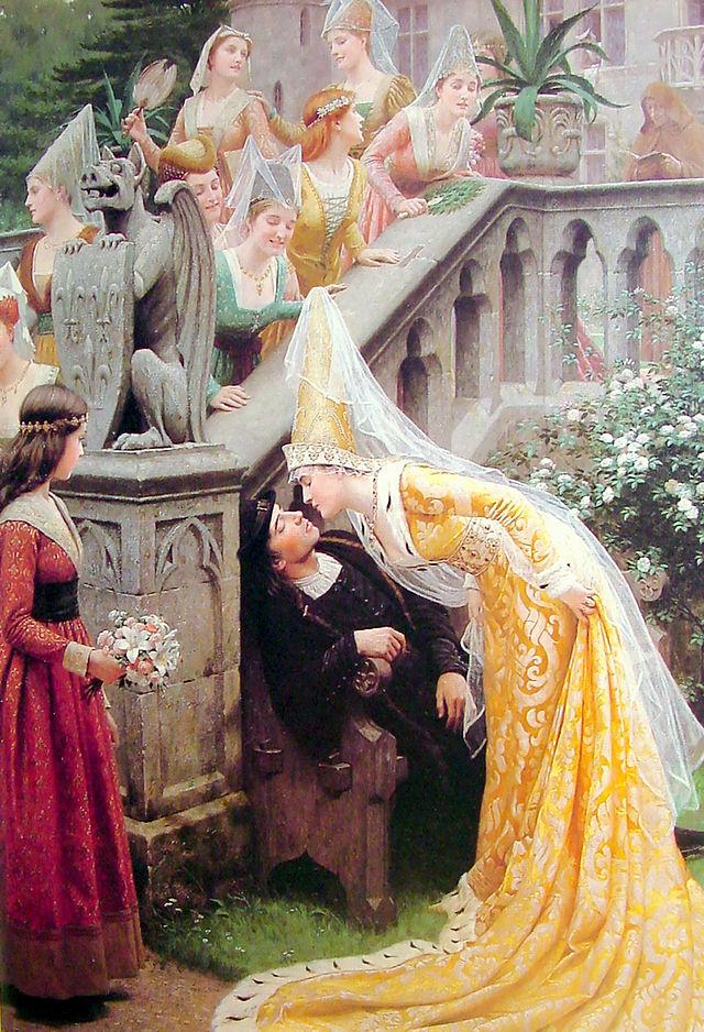 Alain Chartier, por Edmun Blair Leighton (1903), sendo beijado por Margarida de Escocia