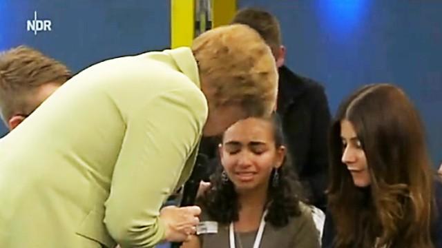 Em debate na Alemanha, menina palestina chora quando a Angela Merkel explica que o país expulsará os refugiados