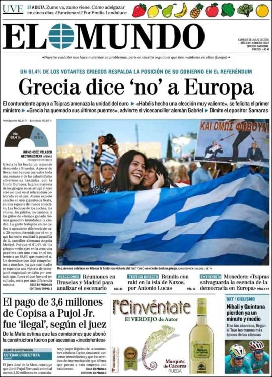 elmundo. Grécia não a Europa referendo