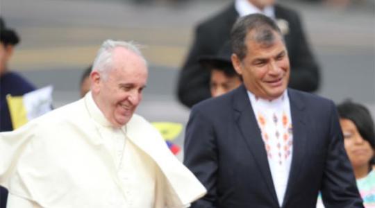 En la ceremonia de bienvenida al papa Francisco. Foto.Patricio Terán / EL COMERCIO
