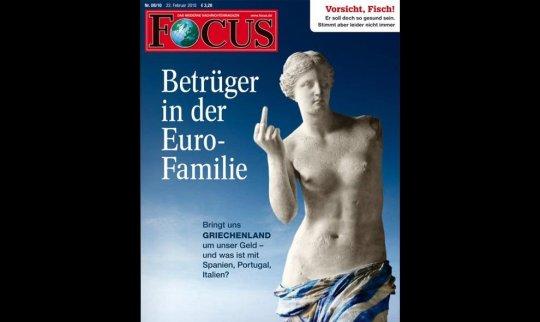 Capa de um semanário alemão, fevereiro de 2010, de propaganda contra os gregos