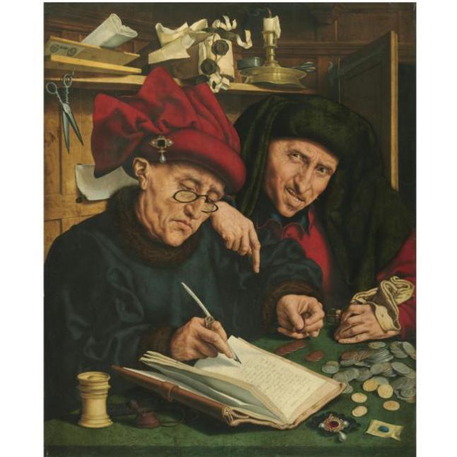 Os Agiotas, do pintor holandês Marinus Van Reymerswaele (1490-1546)