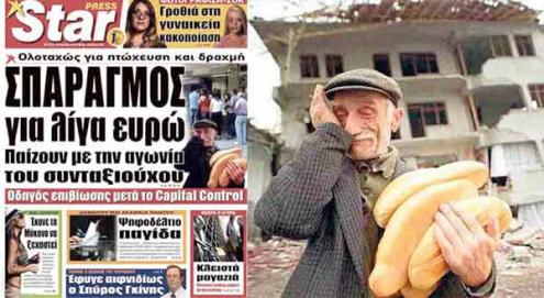 """O diário Star publicou esta semana na capa a foto de um pensionista grego em lágrimas por causa do controlo de capitais. Na realidade, este """"pensionista"""" é uma vítima do terramoto na Turquia em 1999"""