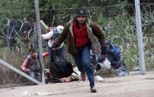 Imagens de refugiados que conseguiram ultrapassar a barreira de arame farpado à entrada para a Hungria ATTILA KISBENEDEK/ AFP