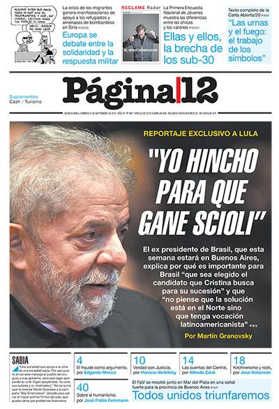 Lula é capa hoje página 12