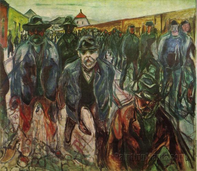 """Imagem- pintura """"Trabalhadores à Caminho de Casa"""", de Edvard Munch."""