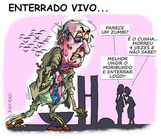 Pataxó: Será que agora vai? A dúvida permanece, morto ou não, Eduardo Cunha segue moribundo na presidência do congresso, a cruz da bandeira suiça sinalizou a extrema-unção tardia de um zumbi da política. Descanse em paz (ex?) deputado
